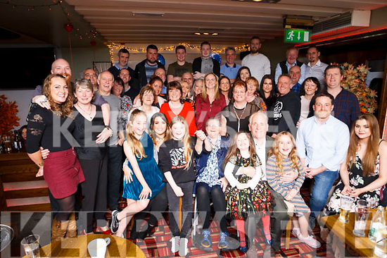Matt Lacey (seated front centre), celebrating his 70th birthday with family and friends at Gallys Restaurant, Tralee on Saturday night.