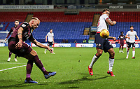 Bolton Wanderers' Josh Magennis charges down a clearance from Swansea City's Mike van der Hoorn<br /> <br /> Photographer Andrew Kearns/CameraSport<br /> <br /> The EFL Sky Bet Championship - Bolton Wanderers v Swansea City - Saturday 10th November 2018 - University of Bolton Stadium - Bolton<br /> <br /> World Copyright © 2018 CameraSport. All rights reserved. 43 Linden Ave. Countesthorpe. Leicester. England. LE8 5PG - Tel: +44 (0) 116 277 4147 - admin@camerasport.com - www.camerasport.com