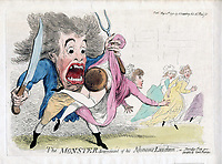 BNPS.co.uk (01202 558833)<br /> Pic: JanBondeson/BNPS<br /> <br /> A bawdy cartoon published at the height of the Monster-mania, showing a lady wearing protective gear being saved from the mystery assailant's rapier.<br /> <br /> A historian has shed new light on a little-known predator who terrorised London's streets a century before Jack the Ripper.<br /> <br /> The despicable culprit - dubbed The Monster - targeted well dressed young women by stabbing them in the thigh or buttocks.<br /> <br /> His reign of terror lasted for the first half of 1790, with him clocking up six victims on a single day. Other women were kicked from behind with spikes fastened to his knees, while some were stabbed in the nose by a spike hidden in a bouquet they were invited to smell.<br /> <br /> By the time The Monster was finally apprehended, his tally of traumatised victims was over 50. He was unmasked as disgraced Welsh ballet dancer Rhynwick Williams, who was kicked out of the theatre after committing theft and descended into the capital's seedy underworld.<br /> <br /> Historian Dr Jan Bondeson has written about him in his book 'The London Monster: Terror on the Streets', and also contributed to an upcoming film on the sinister episode.