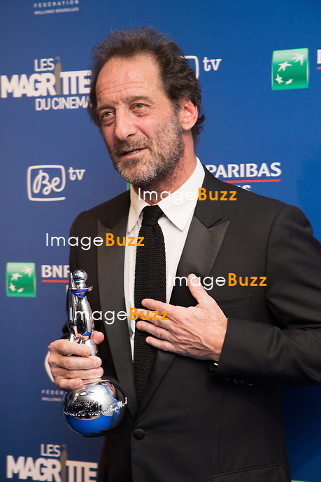 Vincent Lindon / Magritte d'Honneur - Sixi&egrave;me c&eacute;r&eacute;monie des Magritte du cin&eacute;ma, qui r&eacute;compensent le septi&egrave;me art belge, au Square, &agrave; Bruxelles.<br /> Belgique, Bruxelles, 6 f&eacute;vrier 2016.<br /> Sixth edition of the Magritte du Cinema awards in Brussels.<br /> Belgium, Brussels, 7 February 2016