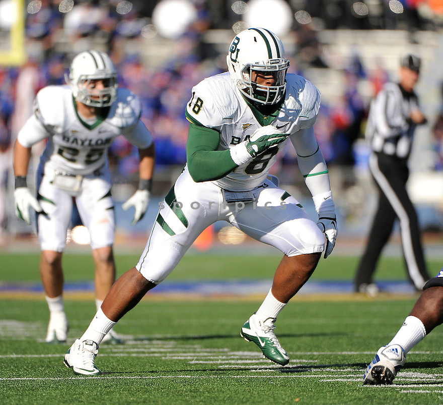 TEVIN ELLIOTT, of the Baylor Bears, in action during Baylor's game against the Kansas Jayhawks on November 12, 2011 at memorial Stadium in Lawrence, KS. Baylor beat Kansas 31-30 (OT).