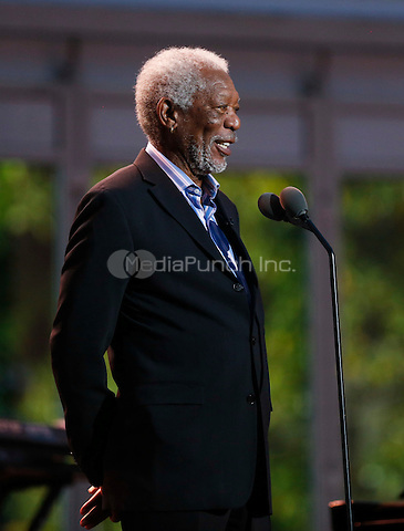 Actor Morgan Freeman speaks during the International Jazz Day Concert on the South Lawn of the White House, in Washington, DC, April 29, 2016. United States President Barack Obama delivered remarks to introduce the event.<br /> Credit: Aude Guerrucci / Pool via CNP/MediaPunch