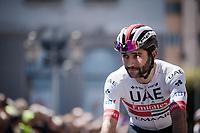 Fernando Gaviria (COL/UAE-Emirates) at the race start in Vasto<br /> <br /> Stage 7: Vasto to L'Aquila (180km)<br /> 102nd Giro d'Italia 2019<br /> <br /> ©kramon