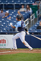 Trenton Thunder first baseman Brandon Wagner (13) grounds out during a game against the New Hampshire Fisher Cats on August 19, 2018 at ARM & HAMMER Park in Trenton, New Jersey.  New Hampshire defeated Trenton 12-1.  (Mike Janes/Four Seam Images)