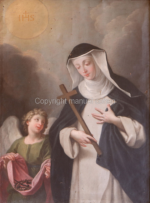 Portrait of St Agnes of Jesus, 1602-34, with her guardian angel, 18th century, by an unknown artist, in the Monastere Sainte Catherine de Sienne, or Monastery of St Catherine of Siena, Langeac, Haute Loire, France. St Agnes of Jesus, or St Agnes of Langeac, 1602-34, founded the monastery in 1623, and was prioress from 1627. Picture by Manuel Cohen