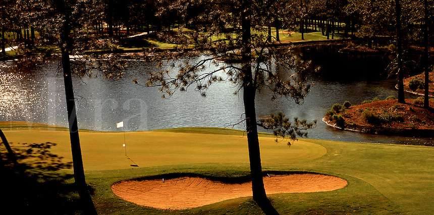 Overview of a golf course landscape; flag and water.