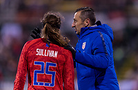 COLUMBUS, OH - NOVEMBER 07: Andi Sullivan #25 talks to Vlatko Andonovski of the United States during a game between Sweden and USWNT at Mapfre Stadium on November 07, 2019 in Columbus, Ohio.