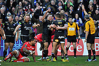Anthony Watson is congratulated by team-mates after scoring a second half try. European Rugby Champions Cup match, between Bath Rugby and RC Toulon on January 23, 2016 at the Recreation Ground in Bath, England. Photo by: Patrick Khachfe / Onside Images