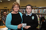 4th Class Student at Marymount Girls NS, Anna Kate Collins receives a runner up prize from Maeve Murphy at the Drogheda Counts Presentation in Drogheda Library...(Photo credit should read Jenny Matthews/NEWSFILE)...