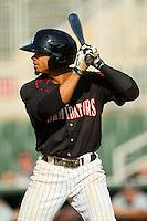 Jacob May (20) of the Kannapolis Intimidators at bat against the Rome Braves at CMC-Northeast Stadium on August 25, 2013 in Kannapolis, North Carolina.  The Intimidators defeated the Braves 9-0.  (Brian Westerholt/Four Seam Images)