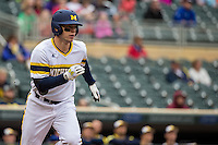Travis Maezes (9) of the Michigan Wolverines runs during a 2015 Big Ten Conference Tournament game between the Michigan Wolverines and Indiana Hoosiers at Target Field on May 20, 2015 in Minneapolis, Minnesota. (Brace Hemmelgarn/Four Seam Images)