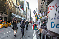NEW YORK,NY APRIL 14:  Hundreds of people taking part during  the Anti Trump rally near to the Hyatt Hotel in Manhattan on April 14,2016 in New York City  . Photo by VIEWpress/Maite H. Mateo