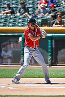Travis Jankowski (8) of the El Paso Chihuahuas at bat against the Salt Lake Bees in Pacific Coast League action at Smith's Ballpark on July 26, 2015 in Salt Lake City, Utah. El Paso defeated Salt Lake 6-3 in 10 innings.  (Stephen Smith/Four Seam Images)