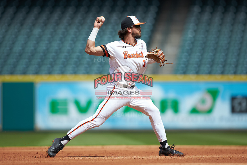 Sam Houston State Bearkats shortstop Andrew Fregia (7) makes a throw to first base against the Vanderbilt Commodores in game one of the 2018 Shriners Hospitals for Children College Classic at Minute Maid Park on March 2, 2018 in Houston, Texas. The Bearkats walked-off the Commodores 7-6 in 10 innings.   (Brian Westerholt/Four Seam Images)