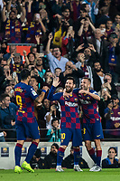 29th October 2019; Camp Nou, Barcelona, Catalonia, Spain; La Liga Football, Barcelona versus Real Valladolid; Luis Suarez, Jordi Alba and Leo Messi celebrating a goal in the 34th minute for 3-1 - Editorial Use