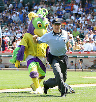 August 9, 2009:  Mascot BirdZirk! performs with a dancer dressed as an umpire during a game at Wrigley Field in Chicago, IL.  Iowa is the Pacific Coast League Triple-A affiliate of the Chicago Cubs.  Photo By Mike Janes/Four Seam Images