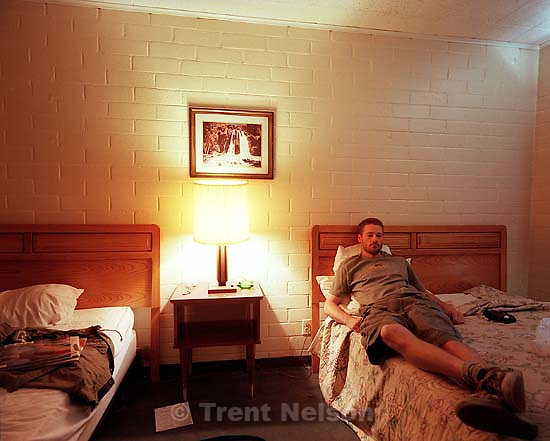 Trent Nelson in crappy hotel room.<br />