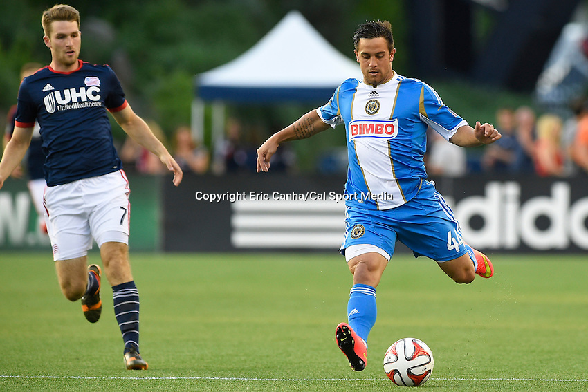 June 28, 2014 - Foxborough, Massachusetts, U.S. - Philadelphia Union midfielder Danny Cruz (44) passes the ball during the MLS game between the Philadelphia Union and the New England Revolution held at Gillette Stadium in Foxborough Massachusetts.  Philadelphia defeated New England 3-1.  Eric Canha/CSM