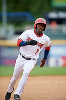 Harrisburg Senators right fielder Daniel Johnson (7) runs the bases during the first game of a doubleheader against the New Hampshire Fisher Cats on May 13, 2018 at FNB Field in Harrisburg, Pennsylvania.  New Hampshire defeated Harrisburg 6-1.  (Mike Janes/Four Seam Images)