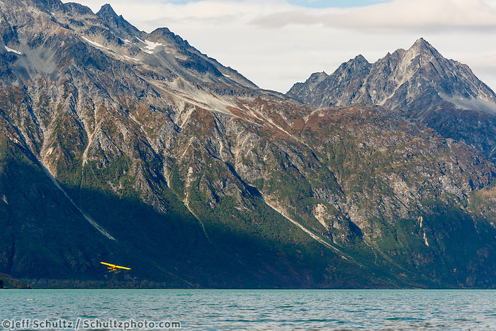 Fall landscape of super cub taking off at Crescent Lake in Lake Clark National Park, Alaska<br /> <br /> Photo by Jeff Schultz/SchultzPhoto.com  (C) 2018  ALL RIGHTS RESERVED<br /> <br /> 2018 Bears, Glaciers and Fall Colors Photo tour/workshop