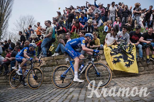 Kasper ASGREEN (DEN/Deceuninck-Quick Step) piloting Zdenek Stybar (CZE/Deceuninck-Quick Step) up the infamous Kapelmuur /Muur van Geraardsbergen<br /> <br /> 103rd Ronde van Vlaanderen 2019<br /> One day race from Antwerp to Oudenaarde (BEL/270km)<br /> <br /> ©kramon