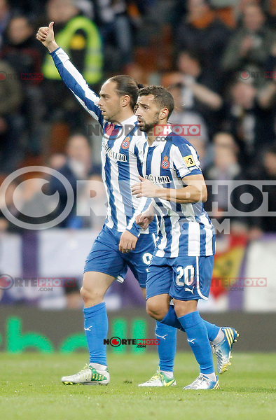 Espanyol's Sergio Garcia and Simao Sabrosa celebrates during La Liga match. December 16, 2012. (ALTERPHOTOS/Alvaro Hernandez)