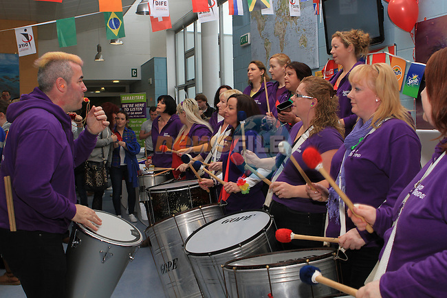 Samba Band at DIFE Multicultural Day...(Photo credit should read Jenny Matthews www.newsfile.ie)....This Picture has been sent you under the conditions enclosed by:.Newsfile Ltd..The Studio,.Millmount Abbey,.Drogheda,.Co Meath..Ireland..Tel: +353(0)41-9871240.Fax: +353(0)41-9871260.GSM: +353(0)86-2500958.email: pictures@newsfile.ie.www.newsfile.ie.