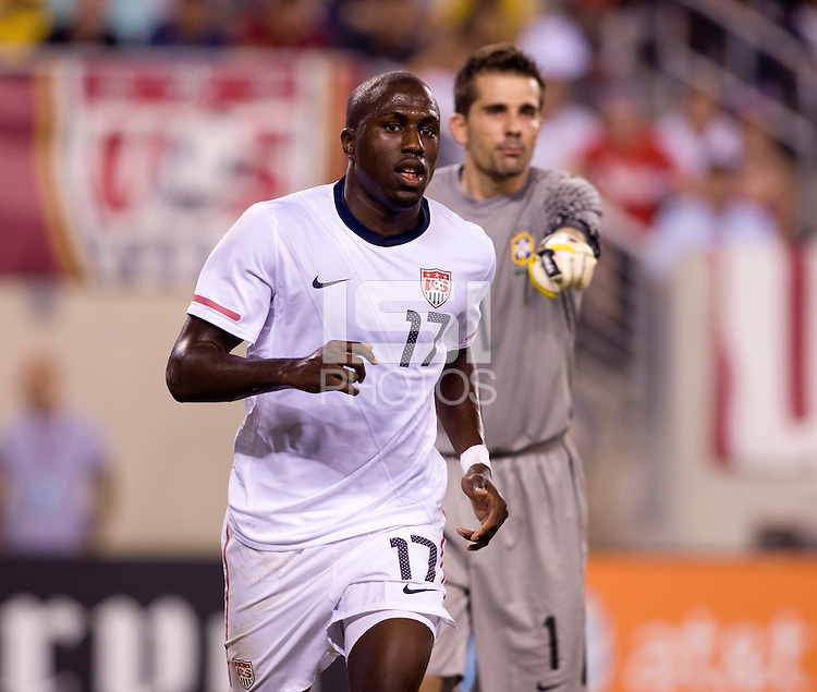 Jozy Altidore (17) of the USMNT moves towards the ball during an international friendly at the New Meadowlands Stadium in East Rutherford, NJ. Brazil defeated the USMNT, 2-0.
