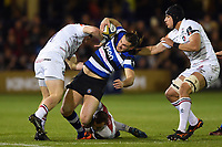 Max Clark of Bath Rugby takes on the Leicester Tigers defence. Anglo-Welsh Cup match, between Bath Rugby and Leicester Tigers on November 10, 2017 at the Recreation Ground in Bath, England. Photo by: Patrick Khachfe / Onside Images
