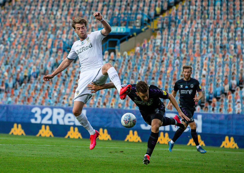 Leeds United's Patrick Bamford battles with Charlton Athletic's Tom Lockyer<br /> <br /> Photographer Alex Dodd/CameraSport<br /> <br /> The EFL Sky Bet Championship - Leeds United v Charlton Athletic - Wednesday July 22nd 2020 - Elland Road - Leeds <br /> <br /> World Copyright © 2020 CameraSport. All rights reserved. 43 Linden Ave. Countesthorpe. Leicester. England. LE8 5PG - Tel: +44 (0) 116 277 4147 - admin@camerasport.com - www.camerasport.com
