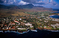 Aerial view of the Poipu resort area, Kaua'i, Hawaii USA.