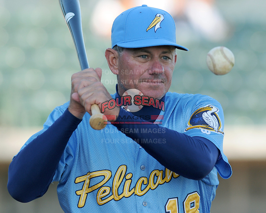 April 10, 2009: Manager Rocket Wheeler (18) of the Myrtle Beach Pelicans, Class A affiliate of the Atlanta Braves, in a game against the Wilmington Blue Rocks at BB&T Coastal Field in Myrtle Beach, S.C. Photo by:  Tom Priddy/Four Seam Images