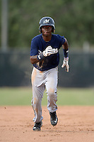 Milwaukee Brewers second baseman Franly Mallen (10) during an Instructional League game against the Cincinnati Reds on October 6, 2014 at Maryvale Baseball Park Training Complex in Phoenix, Arizona.  (Mike Janes/Four Seam Images)