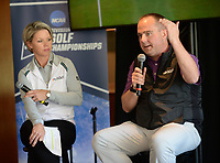 NWA Democrat-Gazette/ANDY SHUPE<br /> Brandt Packer (right), lead Golf Channel tournament producer, speaks Tuesday, April 9, 2019, alongside Lisa Cornwell, former Fayetteville High School and Arkansas golfer and current Golf Channel anchor, during a press conference to announce the details of the NCAA Men's and Women's Golf Nation Championship at Blessings Golf Club in Johnson.