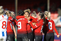 Lauren James (centre) of Manchester United Women celebrates her second  goal in the second half during Brighton & Hove Albion Women vs Manchester United Women, SSE Women's FA Cup Football at Broadfield Stadium on 3rd February 2019