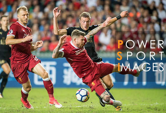 Leicester City FC forward Jamie Vardy fights for the ball with Liverpool FC defender Alberto Moreno (front) during the Premier League Asia Trophy match between Liverpool FC and Leicester City FC at Hong Kong Stadium on 22 July 2017, in Hong Kong, China. Photo by Weixiang Lim / Power Sport Images