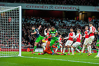 Ashley Williams of Swansea City  scores  his during the Barclays Premier League match between Arsenal and Swansea City at the Emirates Stadium, London, UK, Wednesday 02 March 2016