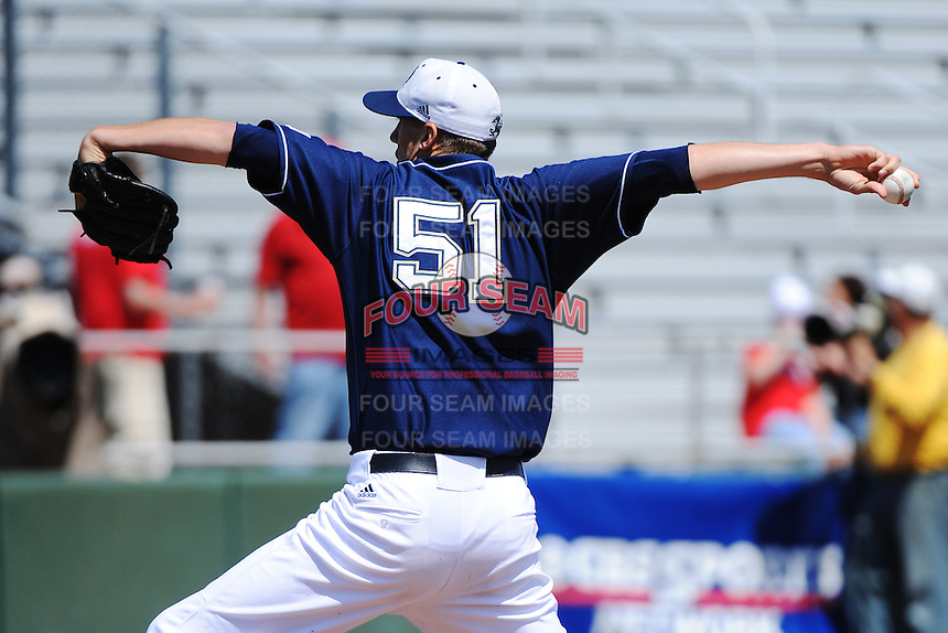 University of Notre Dame Fighting Irish pitcher Donnie Hissa (51) during game against the St. John's University Redstorm at Jack Kaiser Stadium on May 12, 2013 in Queens, New York. St. John's defeated Notre Dame 2-1.      . (Tomasso DeRosa/ Four Seam Images)