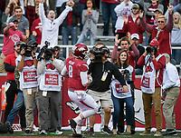NWA Democrat-Gazette/CHARLIE KAIJO Arkansas Razorbacks quarterback Austin Allen (8) scores in the first half during a football game on Friday, November 24, 2017 at Razorback Stadium in Fayetteville.