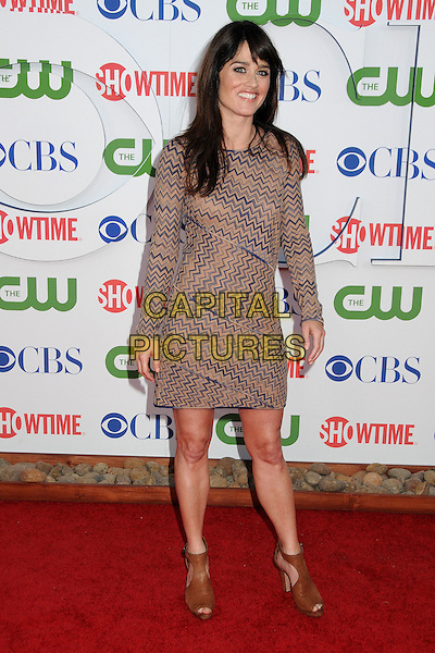 Robin Tunney.CBS, CW and Showtime Summer 2011 TCA Party held at The Pagoda, Beverly Hills, California, USA..August 3rd, 2011.full length dress ankle peep toe shoes  blue beige zigzag print.CAP/ADM/BP.©Byron Purvis/AdMedia/Capital Pictures.