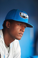 Hudson Valley Renegades Joseph Astacio (7) in the dugout during a game against the Batavia Muckdogs on August 1, 2016 at Dwyer Stadium in Batavia, New York.  Hudson Valley defeated Batavia 5-1.  (Mike Janes/Four Seam Images)