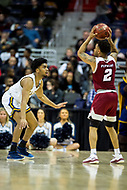 Washington, DC - MAR 7, 2018: La Salle Explorers guard Pookie Powell (0) plays defense against Massachusetts Minutemen guard Luwane Pipkins (2) in game between La Salle and UMass during first round action of the Atlantic 10 Basketball Tournament at the Capital One Arena in Washington, DC. (Photo by Phil Peters/Media Images International)