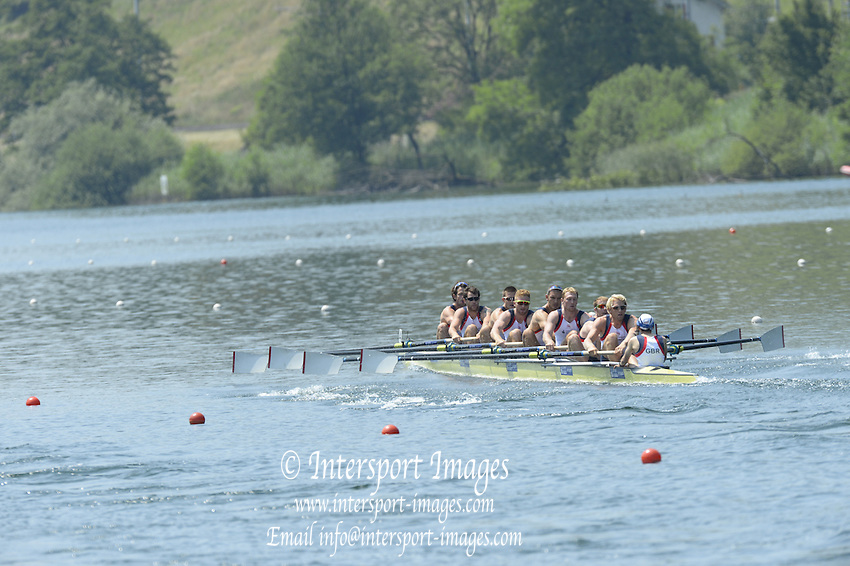 Lucerne. Switzerland. GBR1 M8+. Bow. Tom RANSLEY, Dan RICHIE, Peter REED, Will SATCH, Mo SBIHI, Alex GREGORY George NASH, Andy TRIGGS HODGE and cox,  Phelan HILL, move away from the start pontoon in their heat of the  men's eights FISA WC III. 13:48:39  Friday  12/07/2013  [Mandatory Credit, Peter Spurrier/ Intersport Images] Lake Rotsee,