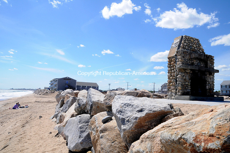 WESTERLY, RI, 17 MAY 13- 051713AJ23-  A cobblestone chimney is all that remains of The Andrea, a 100-year-old hotel on the beach in Westerly, R.I. following Hurricane Sandy.   Alec Johnson/ Republican-American