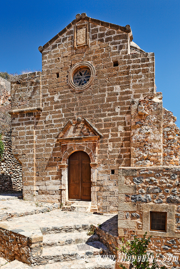 Evagelistria church in the Byzantine castle-town of Monemvasia in Greece