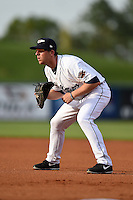 Lakeland Flying Tigers first baseman James Robbins (7) during a game against the Tampa Yankees on April 3, 2014 at Joker Marchant Stadium in Lakeland, Florida.  Tampa defeated Lakeland 4-0.  (Mike Janes/Four Seam Images)
