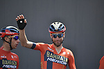Vincenzo Nibali (ITA) Bahrain-Merida at sign on before Stage 11 of the 2019 Giro d'Italia, running 221km from Carpi to Novi Ligure, Italy. 22nd May 2019<br /> Picture: Fabio Ferrari/LaPresse | Cyclefile<br /> <br /> All photos usage must carry mandatory copyright credit (© Cyclefile | Fabio Ferrari/LaPresse)
