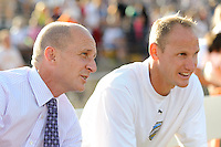 Philadelphia Independence head coach Paul Riley talks with assistant coach Paul Royal prior to the start of the game. The Philadelphia Independence defeated Sky Blue FC 2-1 during a Women's Professional Soccer (WPS) match at John A. Farrell Stadium in West Chester, PA, on June 6, 2010.