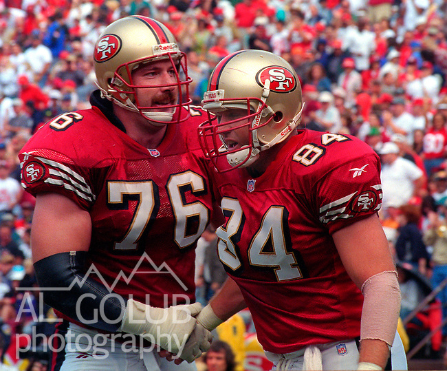 San Francisco 49ers vs. New Orleans Saints at Candlestick Park Sunday, September 14, 1997.  49ers beat Saints  33-7.  San Francisco 49ers tackle Kirk Scrafford (76) congratulates tight end Brent Jones (84).