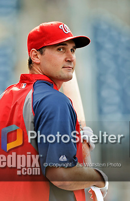 16 May 2012: Washington Nationals third baseman Ryan Zimmerman awaits his turn in the batting cage prior to a game against the Pittsburgh Pirates at Nationals Park in Washington, DC. The Nationals defeated the Pirates 7-4 in the first game of their 2-game series. Mandatory Credit: Ed Wolfstein Photo